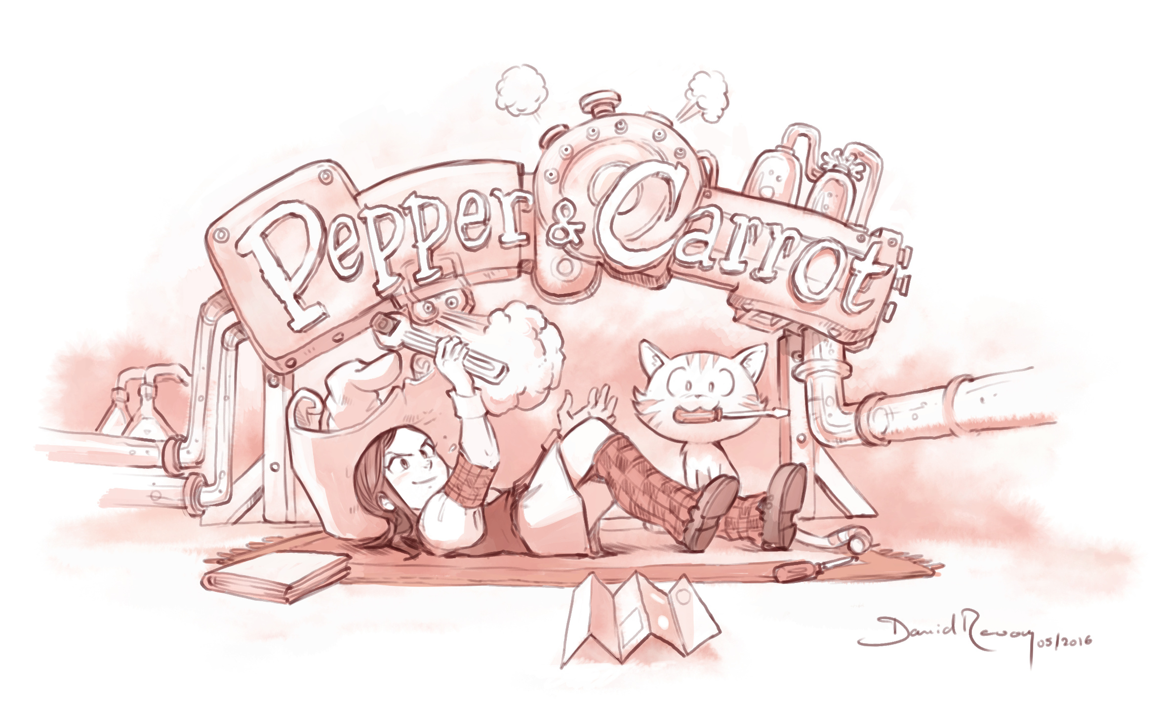 illustration: picture of Pepper and Carrot fixing a big machine