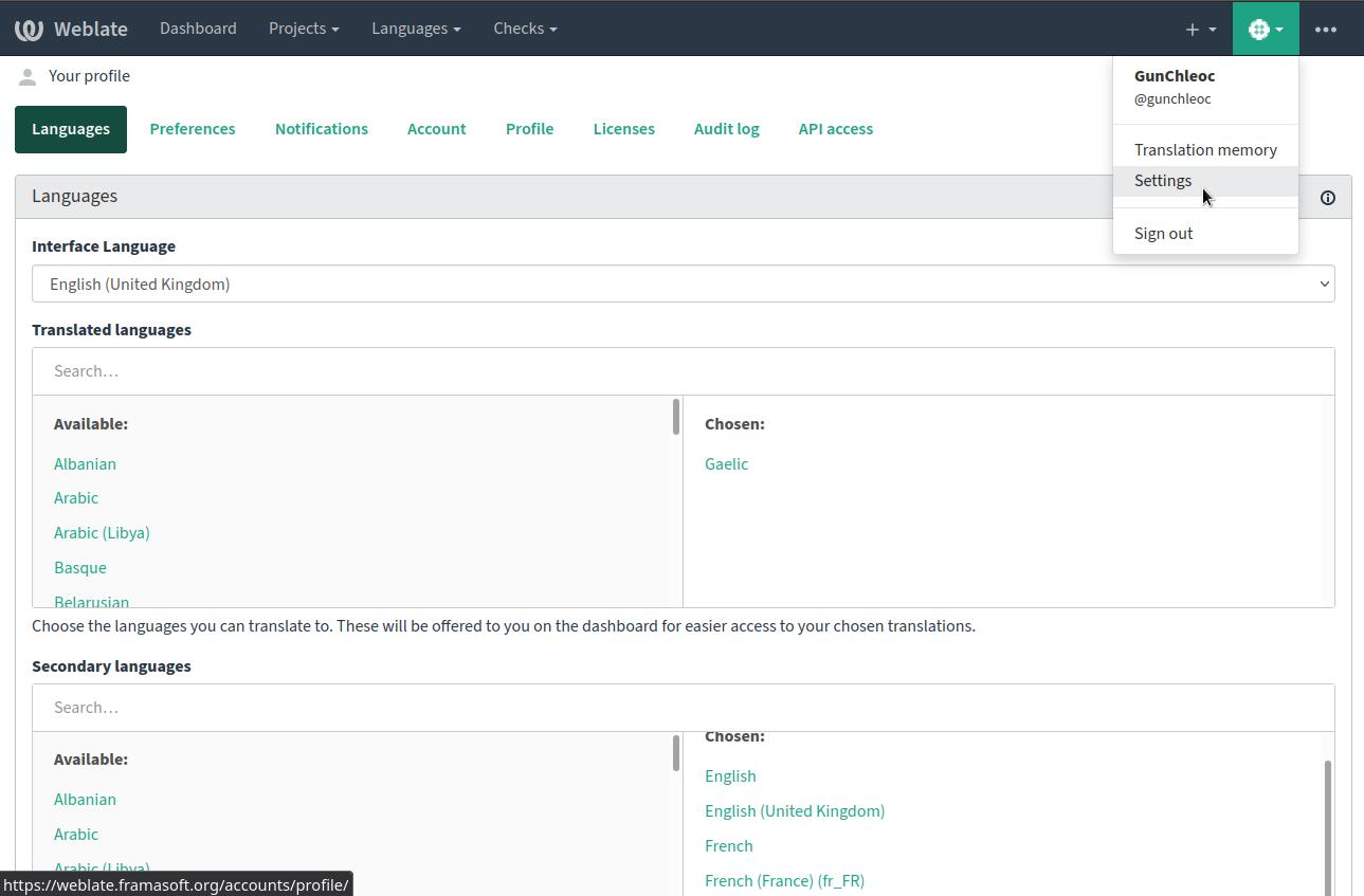 Weblate language settings